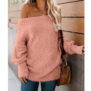 GRETLYN Fluffy Off Shoulder Sweater